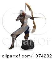 Clipart 3d Female Fantasy Archer Elf Aiming Royalty Free CGI Illustration