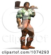 Clipart 3d Strong Mountain Man Holding A Chopping Axe 2 Royalty Free CGI Illustration