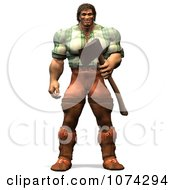 Clipart 3d Strong Mountain Man Holding A Chopping Axe 1 Royalty Free CGI Illustration