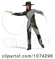 Clipart 3d Female Gunslinger Shooting A Pistol Royalty Free CGI Illustration by Ralf61