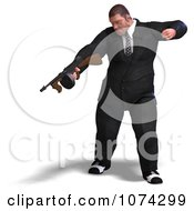 Clipart 3d Mafia Gangster With A Tommy Gun 1 Royalty Free CGI Illustration