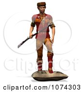Clipart 3d Pioneer Mountain Man With A Rifle 2 Royalty Free CGI Illustration by Ralf61
