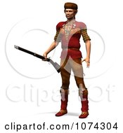 Clipart 3d Pioneer Mountain Man With A Rifle 1 Royalty Free CGI Illustration by Ralf61