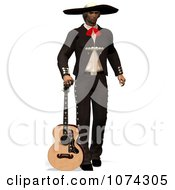 Clipart 3d Mexican Guitarist 2 Royalty Free CGI Illustration