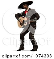 Clipart 3d Mexican Guitarist 1 Royalty Free CGI Illustration