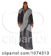 Clipart 3d Japanese Martial Artist Walking Royalty Free CGI Illustration