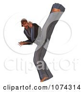 Clipart 3d Japanese Martial Artist Kicking Royalty Free CGI Illustration