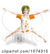 Clipart 3d Young Woman Jumping In Her Night Gown Royalty Free CGI Illustration by Ralf61