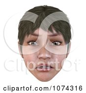 Clipart 3d Worried Short Haired Girls Face Royalty Free CGI Illustration by Ralf61