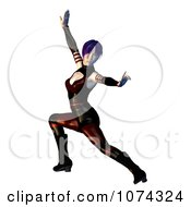 Clipart 3d Female Martial Artist Posing Royalty Free CGI Illustration