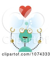 Green Robot In Love Under A Red Heart