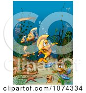 Clipart Fish Biting A Pencil And Surrounded By Other Sea Creatures Royalty Free Illustration by dero