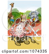Clipart Octopus Playing Tennis With Other Animals Royalty Free Illustration by dero