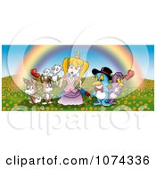Animals Surrounding A Princess Under A Rainbow