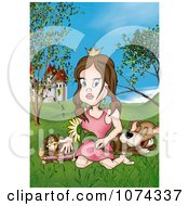 Clipart Princess With Animals In A Castle Meadow Royalty Free Illustration by dero