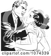 Clipart Black And White Retro Pop Art Couple Fighting Royalty Free Vector Illustration