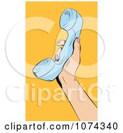 Clipart Retro Pop Art Hand Holding Up A Phone Reciever Royalty Free Vector Illustration