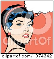 Retro Pop Art Woman In Deep Thought