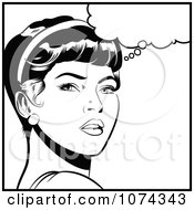 Clipart Black And White Retro Pop Art Woman In Deep Thought Royalty Free Vector Illustration by brushingup #COLLC1074343-0171