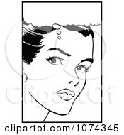 Clipart Black And White Retro Pop Art Woman In Thought Royalty Free Vector Illustration