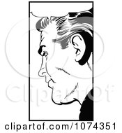Clipart Black And White Retro Pop Art Man With A Speech Balloon 1 Royalty Free Vector Illustration