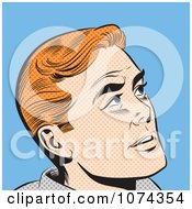 Retro Pop Art Red Haired Man Looking Up