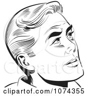 Clipart Black And White Retro Pop Art Man Looking Up Royalty Free Vector Illustration by brushingup #COLLC1074355-0171