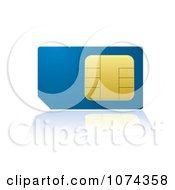Clipart 3d Blue And Gold Cell Phone SIM Card With A Reflection Royalty Free Vector Illustration