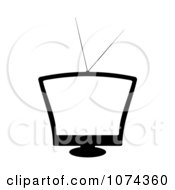 Clipart Retro Black And White Television With A Blank Screen Royalty Free Vector Illustration
