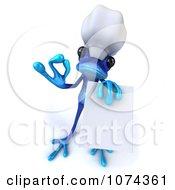 3d Blue Springer Frog Chef Holding A Menu