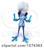 Clipart 3d Blue Springer Frog Chef Holding Two Thumbs Up 2 Royalty Free CGI Illustration