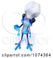 Clipart 3d Blue Springer Frog Chef Holding A Thumb Down Royalty Free CGI Illustration