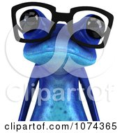 3d Blue Springer Frog Wearing Reading Glasses And Facing Front