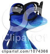 Clipart 3d Blue Springer Frog Wearing Reading Glasses And Facing Right Royalty Free CGI Illustration