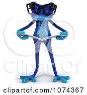 Clipart 3d Blue Springer Frog Wearing Glasses And Reading 1 Royalty Free CGI Illustration