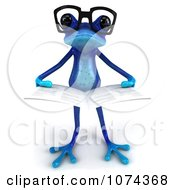 Clipart 3d Blue Springer Frog Wearing Glasses And Reading 2 Royalty Free CGI Illustration