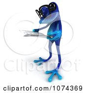 Clipart 3d Blue Springer Frog Wearing Glasses And Reading 3 Royalty Free CGI Illustration