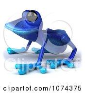 3d Blue Springer Frog Crouching