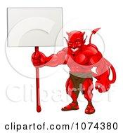 Clipart Muscular Devil Holding A Blank Sign Royalty Free Vector Illustration by AtStockIllustration