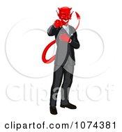 Clipart Corrupt Devil Businessman Pointing Outwards Royalty Free Vector Illustration by AtStockIllustration