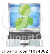 Clipart 3d Chat Icon Emerging From A Laptop Computer Royalty Free Vector Illustration by AtStockIllustration