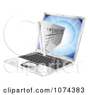 Clipart 3d Daily Newspaper Emerging From A Laptop Computer Royalty Free Vector Illustration