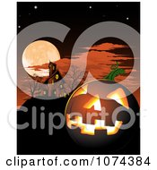 Clipart Illuminated Halloween Jackolantern And Haunted House Under A Full Moon Royalty Free Vector Illustration by AtStockIllustration