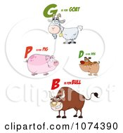 Clipart Goat Pig Dog And Bull With Letters Royalty Free Vector Illustration
