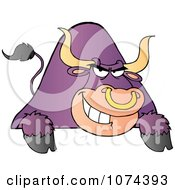Clipart Tough Purple Bull Grinning Over A Blank Sign 1 Royalty Free Vector Illustration