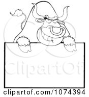 Clipart Tough Outlined Bull Grinning Over A Blank Sign 2 Royalty Free Vector Illustration