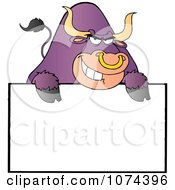 Tough Purple Bull Grinning Over A Blank Sign 2