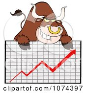 Clipart Grinning Brown Market Bull Over A Financial Chart Royalty Free Vector Illustration