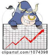 Grinning Purple Market Bull Over A Financial Chart