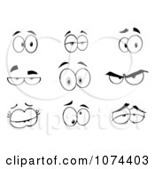 Clipart Black And White Expressional Eyes Royalty Free Vector Illustration